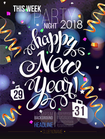 Happy New year 2018 decoration poster card and merry Christmas background  with garlands, tree branches, snowflakes.