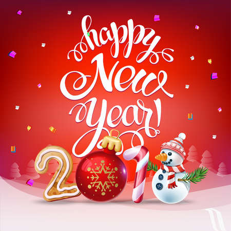 Happy New Year 2018 decoration poster card. Sign background and composition on a snowy field with Christmas toys and Snowman, garlands, candy canes, gingerbread and snowflakes. Vector isolate