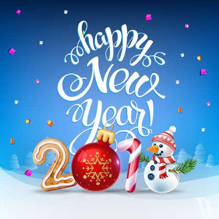 행복 한 새 해 2018 장식 포스터 카드입니다. 배경 및 컴포지션 눈 덮인 크리스마스 장난감 및 눈사람, garlands, 사탕 지팡이, 진저와 눈송이에 가입하십시오. 벡터 격리 스톡 콘텐츠 - 90069217