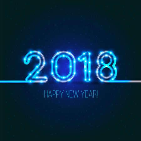 新年のデザイン。2018 ライトと燃えるような Dogs.Vector ネオン数字の年です。グリーティング カードの背景。