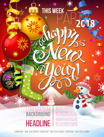 Happy New year 2018 decoration poster card and merry Christmas Party background  with garlands, tree branches, snowflakes and Snowman. Fiery Dogs year