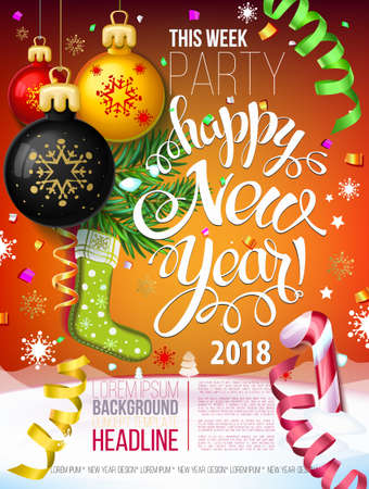Happy New year 2018 decoration poster card and merry Christmas background  with garlands, tree branches, snowflakes serpentine and confetti. Fiery Dogs year