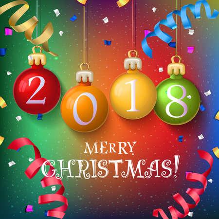 메리 크리스마스 2018 장식 포스터 카드입니다. 새 해 배경 garlands, 유영, 눈송이. 벡터 디자인입니다. 숫자가있는 크리스마스 공 스톡 콘텐츠 - 90527685