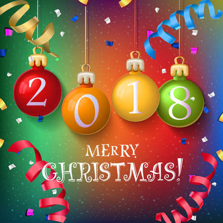 Merry Christmas 2018 decoration poster card. New Year background  with garlands, streamer and snowflakes. Vector design. Christmas balls with numbers Ilustração