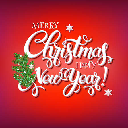 Merry Christmas and Happy New Year 2018 sign on red background with  a branch of a Christmas tree. Calligraphy text, poster template. Vector  Ilustração