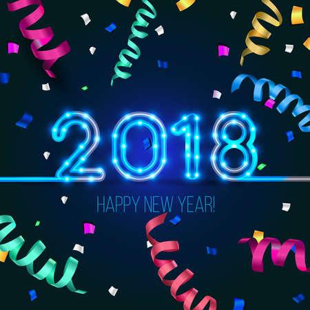 新年のデザイン。2018 激しい犬の年。ベクトル ライトとネオン数字。グリーティング カードの背景に蛇紋岩、紙吹雪