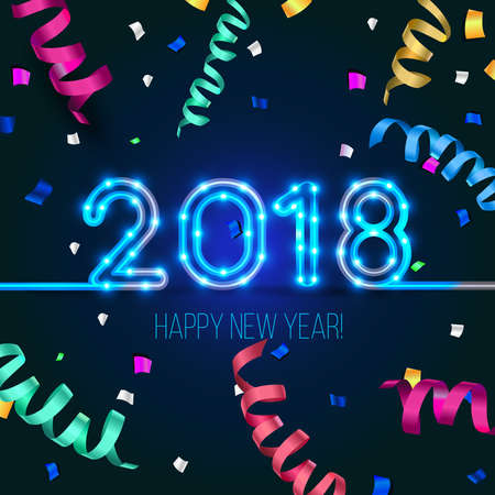 New Year's design. 2018 the year of Fiery Dogs. Vector neon figures with lights. Greeting card background with serpentine and confetti Ilustração