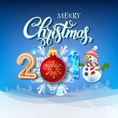 メリー クリスマス 2018 装飾ポスター カード。幸せな新しい年記号背景とのクリスマスのおもちゃ、雪だるま、花輪、キャンディー、ジンジャーブレ