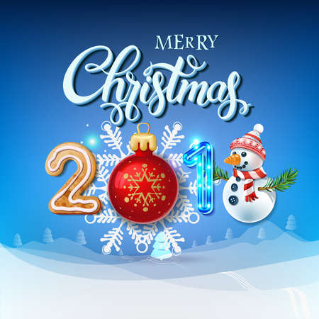 Merry Christmas 2018 decoration poster card. Happy New Year sign background and composition on a snowy field with Christmas toys and Snowman, garlands, candy canes, gingerbread and snowflakes.Vector