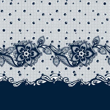 레이스 잎과 꽃 패턴 벡터 추상 완벽 한 패턴입니다. 무한 꽃 검은 장식 벽지, 란제리 및 보석. 레이스 꽃과 장식. 스톡 콘텐츠 - 99865417