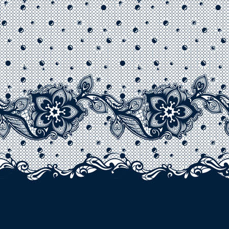 Vector Abstract seamless pattern with lace leaves and flowers pattern. Infinitely floral black ornamental wallpaper, lingerie and jewelry. Lace flower and ornament.  イラスト・ベクター素材