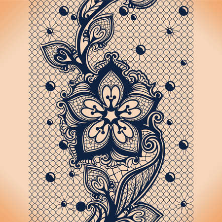 Vector Abstract seamless pattern with lace leaves and flowers pattern. Infinitely floral black ornamental wallpaper, lingerie and jewelry. Lace flower and ornament. Ilustração