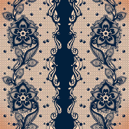 Vector Abstract seamless pattern with lace leaves and flowers pattern. Infinitely floral black ornamental wallpaper, lingerie and jewelry. Lace flower and ornament. Illustration