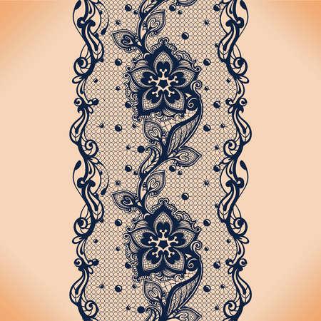 레이스 잎과 꽃 패턴 벡터 추상 완벽 한 패턴입니다. 무한 꽃 검은 장식용 벽지; 란제리와 보석. 레이스 꽃과 장식. 스톡 콘텐츠 - 99865420