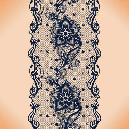 Vector Abstract seamless pattern with lace leaves and flowers pattern. Infinitely floral black ornamental wallpaper; lingerie and jewelry. Lace flower and ornament.  イラスト・ベクター素材