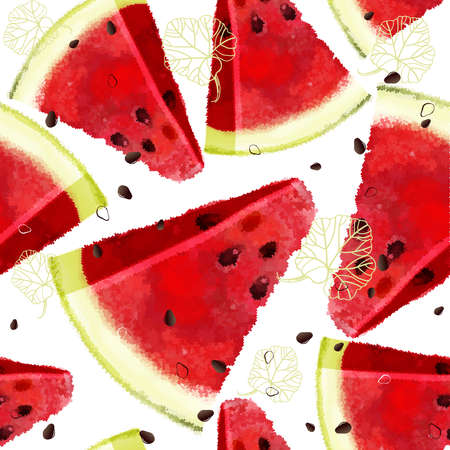 Watermelon vector seamless pattern, juicy piece, summer composition of red slices of watermelon. Pixel composition designs.