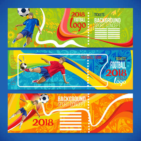 Concept of soccer player with colored geometric shapes assembled in figure football Background of different color bands intertwined. Champion football game. 2018 Table Matches.