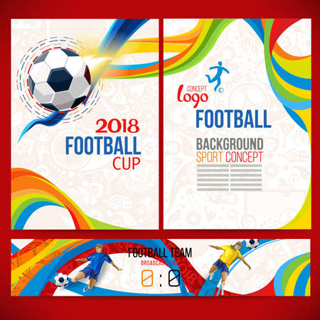 Football cup. 2018 World championship. Background concept of player with football ball around of Russian ethnic symbols. Champion football game. Symbol sport cup. Ilustração