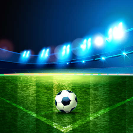 Football Arena. Night background football field stadium and fans 2018 soccer championship. Ilustração