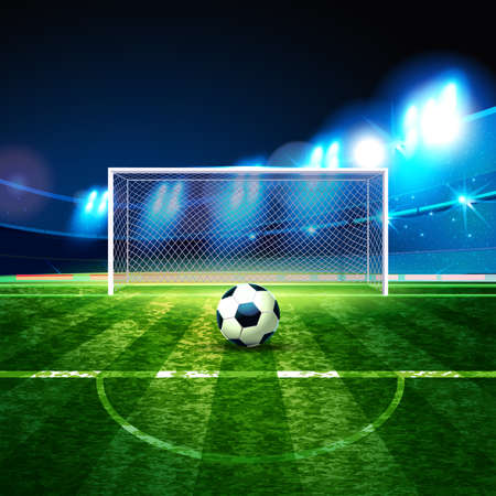 Soccer ball on goalie goal background. Football Arena. Night background football field stadium and fans 2018 soccer championship. Ilustração