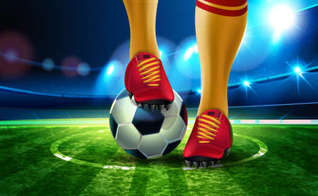 Soccer ball on Football Arena with a part of the foot of a football player. Night background football field stadium and fans 2018 soccer championship. Ilustração
