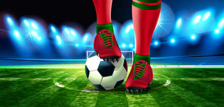 Soccer ball on Football Arena with a part of the foot of a football player. Night background football field stadium and fans 2018 soccer championship. 스톡 콘텐츠 - 110680257
