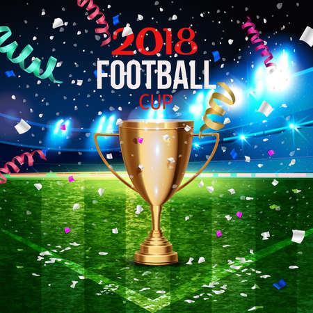 Football cup in the soccer arena on a background of grass field. The moment of victory with confetti around night background football field stadium and fans Signs 2018 soccer championship cup. 스톡 콘텐츠 - 110680258