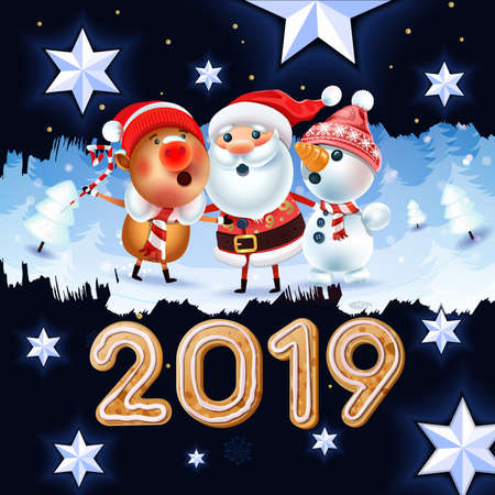 2019 New year & Merry Christmas symbol. Santa Claus on a winter background with gifts, Christmas toys, a star, candy, sweets and Christmas Cookies.Decoration of poster card holiday background. Winter.