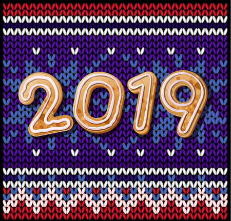2019 Merry Christmas & New Year poster. Christmas knitted background with Inscription 2019 of Christmas cookies. 스톡 콘텐츠 - 110680264