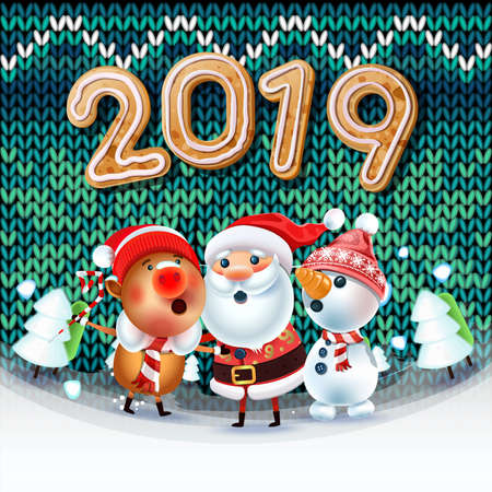 2019 Merry Christmas & New Year poster. Santa Claus Snowman, and symbol of 2019 year Pig sing a Christmas song around the Christmas tree on knitted background. Inscription 2019 of Christmas cookies.