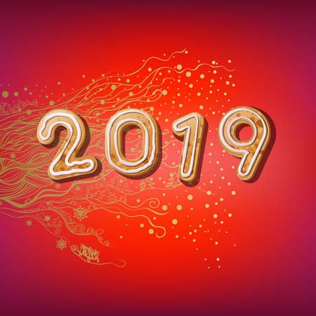 2019 Merry Christmas & New Year poster. Symbol Inscription 2019 of Christmas cookies on red background.Template vector postcard.