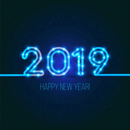 2019 New Years design. Vector neon figures with lights. Greeting card background. Happy new year 2019 sign.
