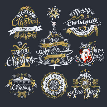 2019 Christmas and New year labels and borders. Decoration set of calligraphic design with typographic labels, and icons elements for you. Hand drawn authors work.  Merry Christmas emblems. 스톡 콘텐츠 - 110680268