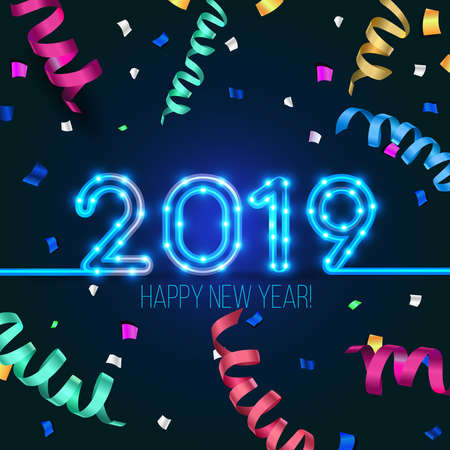 New Year's design. 2019 the year of pig. Vector neon figures with lights. Greeting card background with serpentine and confetti Imagens - 110680269