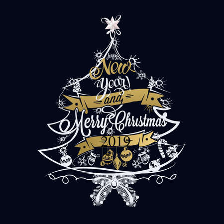 2019 Christmas and New year label with colored lights on a Christmas tree, decoration of calligraphic design with typographic labels, symbols and icons elements for you.