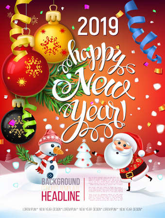 2019 Happy New Year  decoration of a poster card and a merry Christmas holiday background with garlands, tree branches, snowflakes and a snowman and Santa claus around a Christmas tree 스톡 콘텐츠 - 110680271