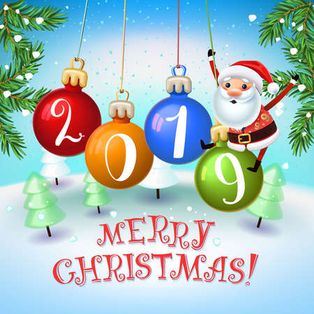 Santa Claus with the symbol of 2019 Pigs on christmas decoration. New year holiday with Christmas trees.Christmas time with snow light Decoration of poster card and holiday background. 2019 New year. Ilustração