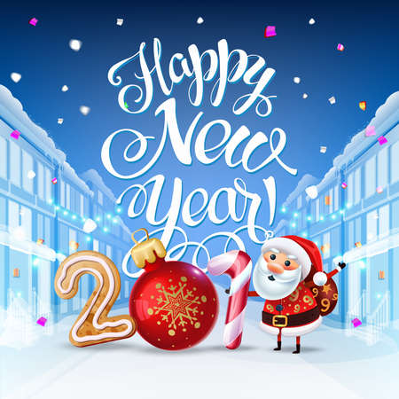 Happy New Year 2019 decoration poster card. Background and composition on a snowy street with Santa, christmas toys and  garlands, candy canes, gingerbread and snowflakes. Vector isolate Ilustração