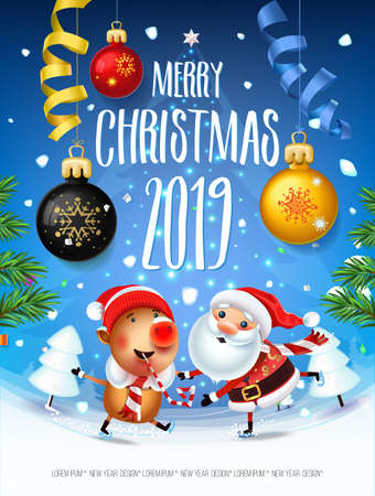 Santa Claus with the symbol of 2019 Pigs on skates rushes for holiday on the field with Christmas trees.Christmas time with snow light Decoration of poster card and holiday background. 2019 New year. 스톡 콘텐츠 - 110177359