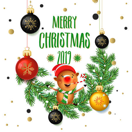 Merry Christmas 2019 poster card with pig. Calligraphy text, on the white background with gold snowflakes, and the branches of a Christmas tree with toys. Signs isolate, New year winter theme template