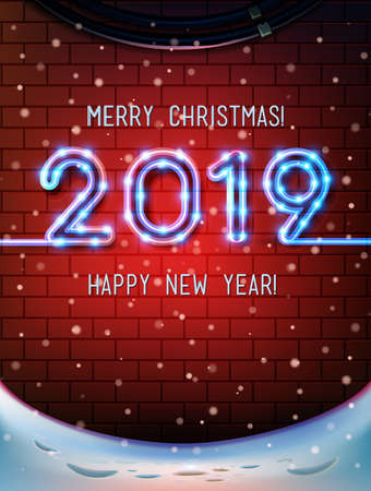 Merry Christmas 2019 and Happy new year an inscription in neon letters on a brick wall. Christmas time with snow light Decoration of poster card and holiday background. Winter template vector banner. 스톡 콘텐츠 - 110680275