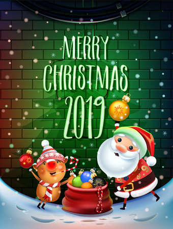 2019 Merry Christmas and New Year symbol. Santa Claus on a winter background with gifts, Christmas toys, star, candy, sweets and symbols of 2019 pig.Decoration poster card holiday background. Winter. Ilustração