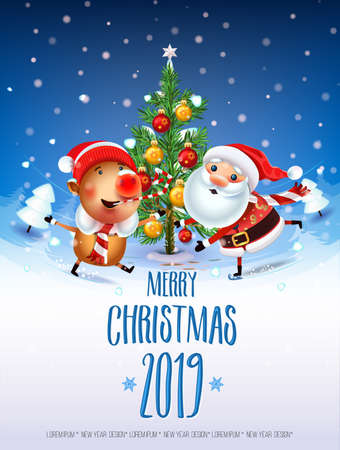 2019 New year & Merry Christmas symbol. Santa Claus on a winter background with gifts, Christmas trees,a star, candy, sweets and symbols 2019 pig.Decoration of poster card holiday background. Winter.
