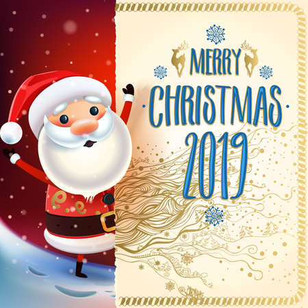 2019 Merry Christmas & New year symbol. Christmas greeting card. Winter
