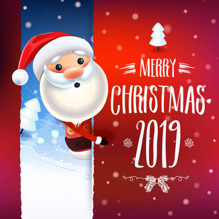 2019 New year & Merry Christmas symbol. Santa Claus on a winter background Decoration poster card holiday background. Winter template.Vector. Ilustração