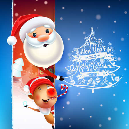2019 New year & Merry Christmas symbol. Santa Claus on a winter background with gifts, Christmas toys, a star, candy, sweets and symbols of 2019 pig.Decoration poster card holiday background. Winter. Ilustração