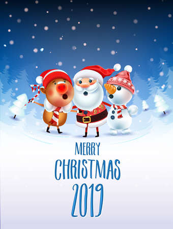 2019 Merry Christmas & New Year poster. Santa Claus Snowman, and symbol of 2019 year Pig sing a Christmas song around the Christmas tree in a snowy meadow. invitation card and holiday template.Vector