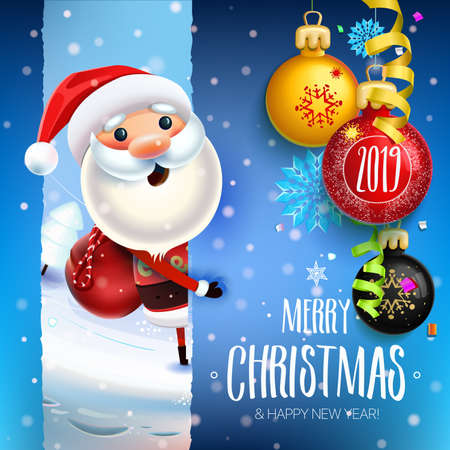 2019 New year & Merry Christmas symbol. Christmas background, holiday, card, holiday Winter greeting 스톡 콘텐츠 - 110680280