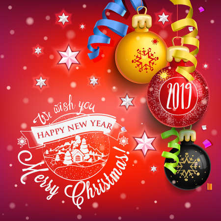 2019 New year & Merry Christmas symbol. Christmas holidays with stars, stars, candy, sweets and symbols. Decoration poster card holiday background. Winter. 스톡 콘텐츠 - 110680281
