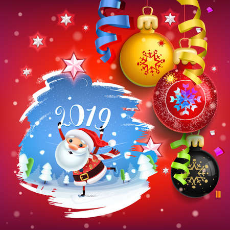 2019 New year & Merry Christmas symbol. Santa Claus on a winter background with Christmas toys, star, candy, sweets and symbols winter holidays. Decoration poster card holiday background. Winter. Ilustração